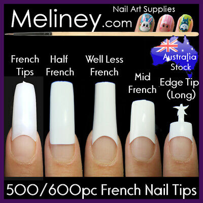 100/500Pc French Nail Tips White Clear Natural Fake False Nails Gel Art Acrylic