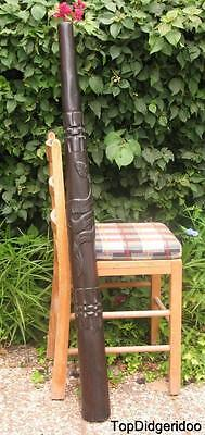 "47""120cm DIDGERIDOO+Bag+Beeswax Mouthpiece *Teak Wood SNAKE Artwork Hand-Carved"