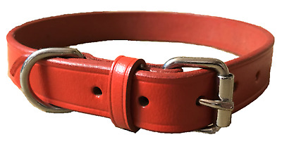 New Hand-Crafted Red  Soft Leather Dog Collar Training Labrador Strong Large
