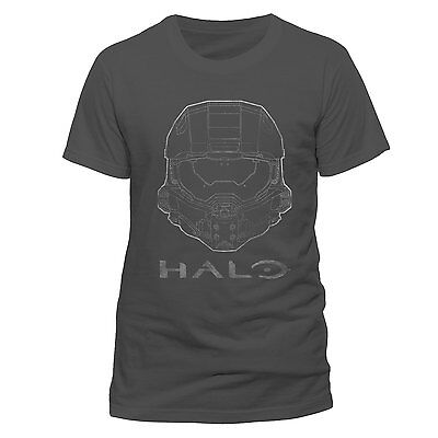 Halo 5 MASTER CHIEF HEAD OFFICIAL T-SHIRT Charcoal Cotton Unisex - Helmet logo