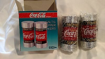"NEW Coca Cola Salt & Pepper Shakers 4"" Fountain Service Diner Collection L@@K"