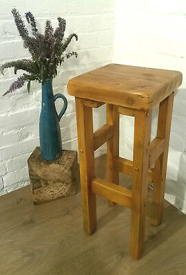 British Hand Made Reclaimed Solid Plank Wood Pine Table Kitchen Island Bar Stool
