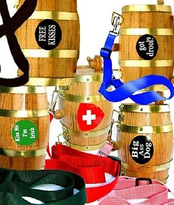 Saint Bernard Keg Wood Barrel Nylon Dog Collar St Beer Brandy Whiskey Free Decal