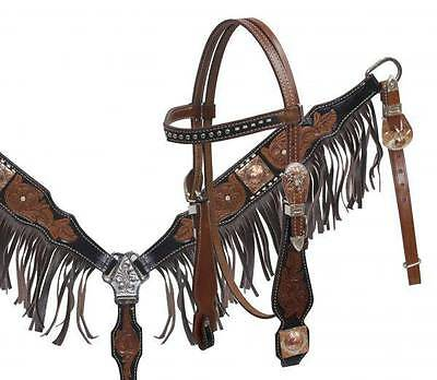 Showman Leather Headstall and Breastcollar Set with Leather Fringe! HORSE TACK!