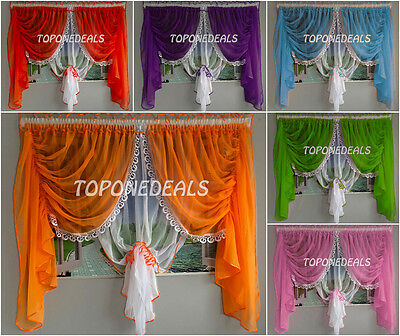 Amazing Luxury Voile Net Curtains with Lace Ready Made Living Dining Room