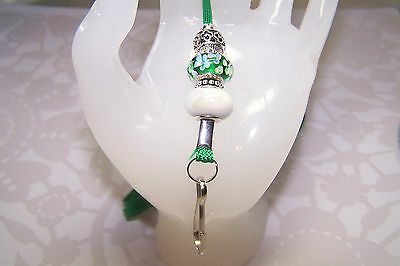 Green With White Flowers Murano and White Ceramic Beaded Lanyard / ID Badge