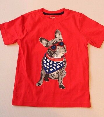 Gymboree Star Spangled Summer USA Dog July 4th Red Shirt Top Toddler Boy Size 3T