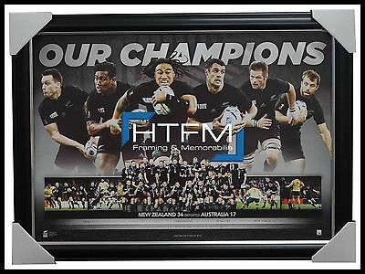 All Blacks 2015 World Cup Rugby Champions Official Sportsprint Framed - Carter