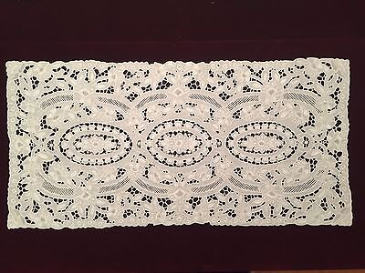 """Gorgeous Handmade White Embroidery Cutout work 32"""" x 15.5"""" Linen Table Runner"""
