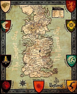"Game Of Thrones Houses Map Westeros New Silk Cloth Poster 16 x13"" Decor 68"