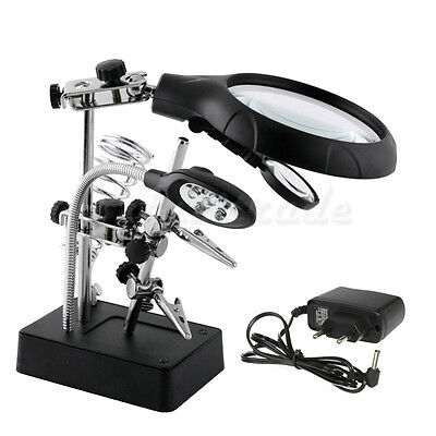 New LED Iron Magnifier Interchangeable Soldering Magnifying Glass Stand Station