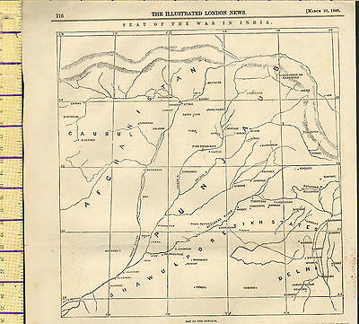 1846 Map ~ Punjaub Seat Of War In India ~ Illustrated London News