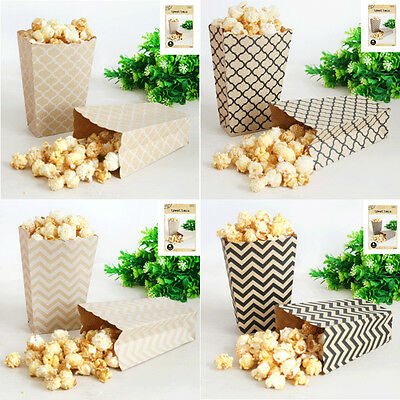 Popcorn Boxes Favour Lolly Bags x 4 Rustic Vintage Country Natural Kraft