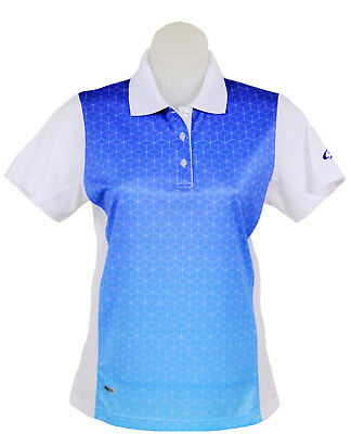 Women's White and Blue Polo Short Sleeve Golf T-Shirt