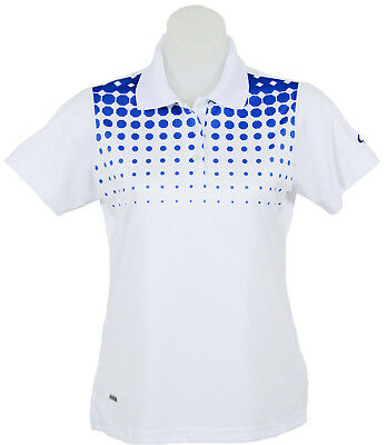 Women's White and Blue Spot Polo Short Sleeve Golf T-Shirt