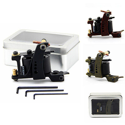 2 Color Alloy Tattoo Machine Gun 10 Wrap Copper Coils Liner Shader With Iron Box
