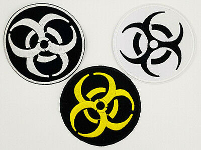 """Bio Hazard Zombie Nuclear Toxic Warning Sign Iron On Embroidered Patch 3/""""x3/"""""""