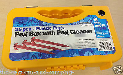 """25 x Tent Peg 8"""" Boxed - Red Plastic -  Peg Brush feature on box!   LWACC202"""