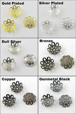 300 New Flower Filigree Bead Caps End 10mm Gold Dull Silver Bronze Plated