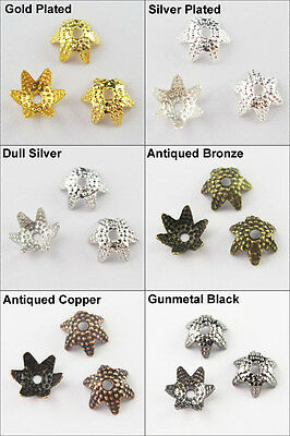 150 New 6Leaf-Flower Star End Bead Caps 6mm Gold Dull Silver Bronze Plated