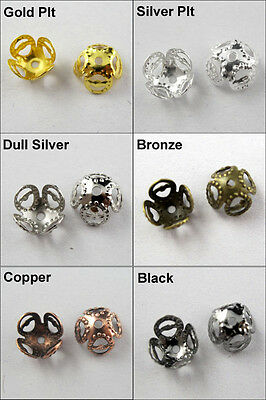 100 New Four-leaves Flower End Bead Caps 8mm Gold Dull Silver Bronze Plated