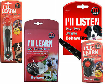 Mikki Dog Puppy Training Clikka Click Target Stick Discs Clicker Obedience