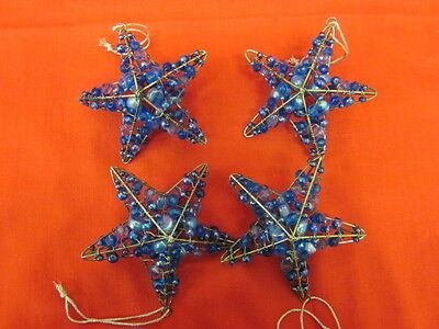 Blue Glass Beaded Wire Star Christmas Tree Ornaments Set of 4