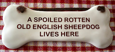 A SPOILED ROTTEN OLD ENGLISH SHEEPDOG Lives Here Pottery BONE Hanging DOG Breed