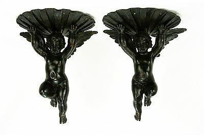 Antique Pair of Hand Carved Wood Cherub Wall Shelves ca1900