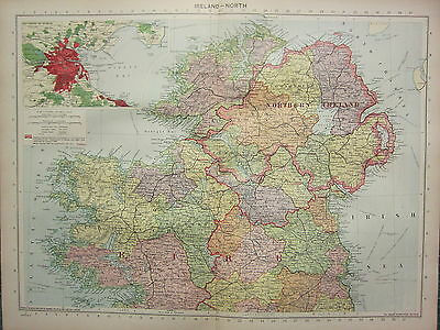 1940 Map ~ Ireland Northern ~ Eire Inset Environs Dublin Connacht Galway