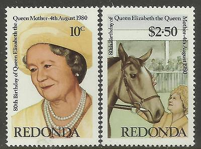 REDONDA 1980 80th Birthday QUEEN ELIZABETH QUEEN MOTHER 2v MNH