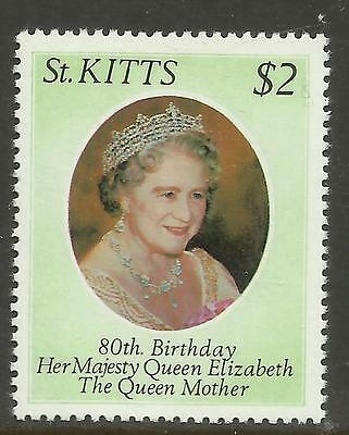 ST KITTS 1980 80th Birthday QUEEN ELIZABETH QUEEN MOTHER 1v MNH