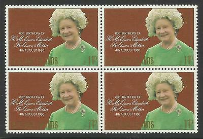 FALKLAND IS 1980 80th Birthday QUEEN ELIZABETH QUEEN MOTHER Block of 4 MNH