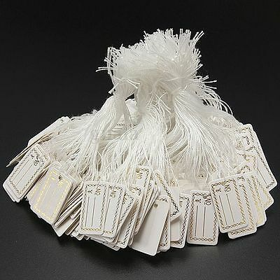 100pcs 26X15mm Price Tags White String Jewelry Craft Pricing Label Strung Swing