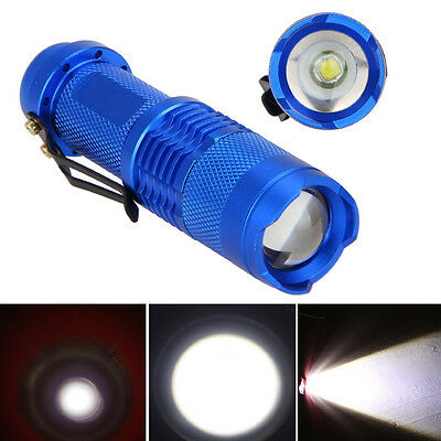 7W 1200lm CREE Q5 LED Mini Zoomable Flashlight 14500/AA Torch Lamp Light Blue