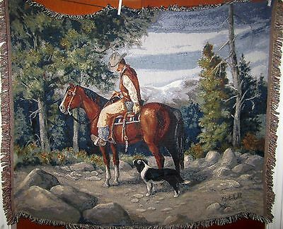 Western Cowgirl - Mountain Rider Horse & Dog Tapestry Afghan Throw Blanket