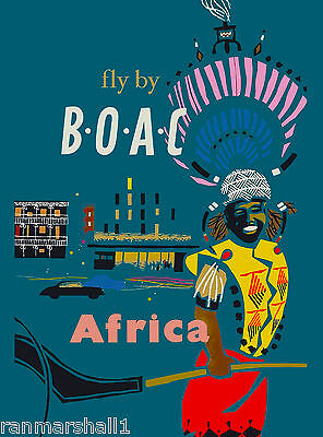 Africa African by Airplane Vintage Travel Advertisement Art Poster