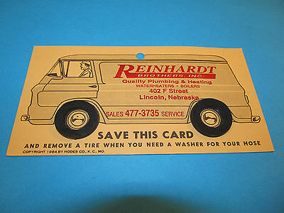 Vintage REINHARDT Plumbing Advertising Lincoln Nebraska Rubber Tire Washers