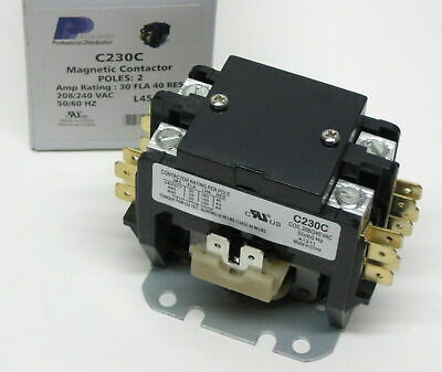 C230C Double two 2 Pole 30 Amps 208 230 240 Volts A/C Contactor