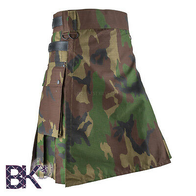 Men Camouflage Tactical Combat Army Utility Kilt, Various Camouflage Designs