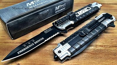 """M-TECH Spring Assisted """"EMERGENCY RESCUE"""" Pocket Knife Alum Handle W/LED Light"""