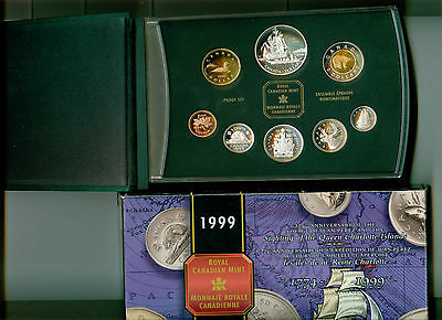 1999 Canada Double Dollar Proof Set With Prerez Silver Dollar Mint In Box !!!!