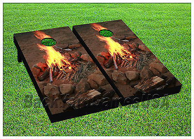 Fire at the Beach CORNHOLE BEANBAG TOSS GAME w Bags Game Boards  Set 1003