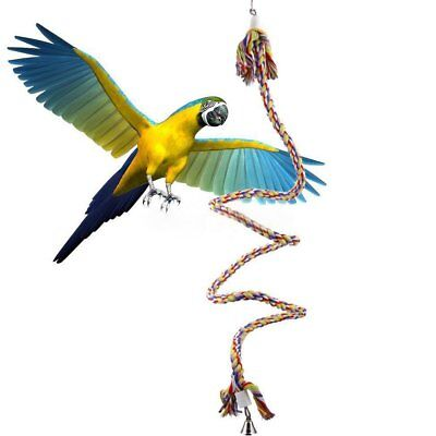 ROPE BOING COIL SWING BIRD TOY parrot cage toy conures cockatiels Perch 1.1m