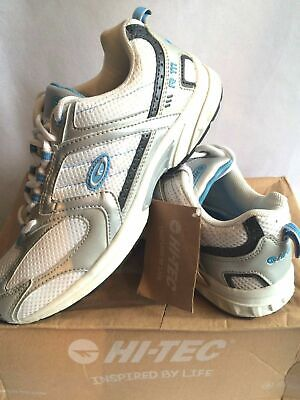 Ladies/Womens HI-TEC White/Silver/Blue Lace Up Trainers Running Light Weight