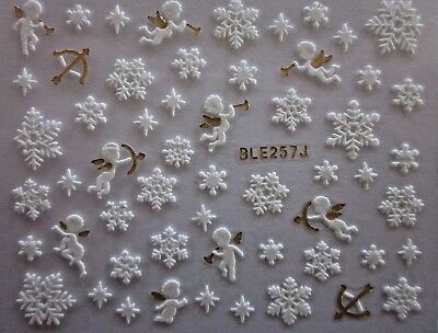Adesivi unghie NATALE FIOCCHI di NEVE nail CHRISTMAS snowFLAKES stickers BLE257J