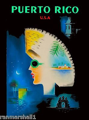 Puerto Rico USA Puerto Rican Caribbean Vintage Travel Advertisement Poster