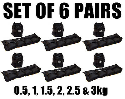 Set Of 6 Fxr Sports Wrist Ankle Weights Resistance Strength Training Gym Straps