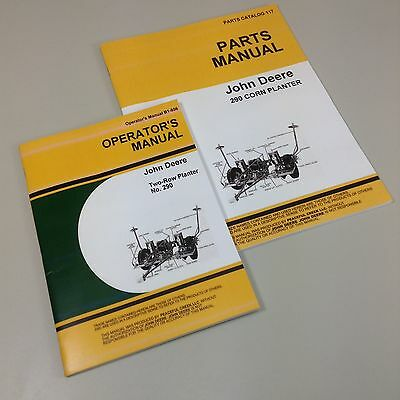 LOT JOHN DEERE No 290 PLANTER PARTS OWNERS OPERATORS MANUAL CATALOG TWO ROW CORN