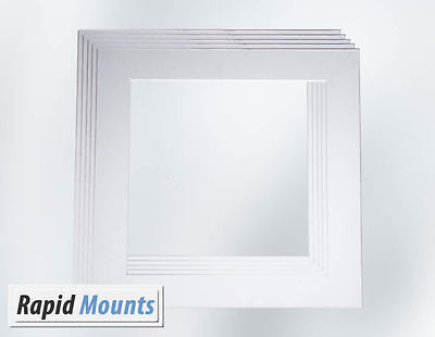 5 Pack Square Mounts for Picture / Photo frames- White Core board. Various sizes
